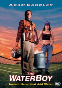 The DVD cover movie poster for Adam Sandler's The Water Boy